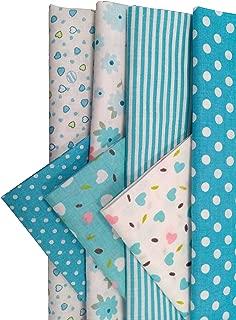 "levylisa 19.7"" x 19.7"" 7pcs Blue Printing Floral Dot Stripe Cotton Quilting Fabric Quarter Bundle Patchwork Quilting Fabric Sets Sewing Fabric Patchwork Flower Dots DIY Quilting Handmade Craft"