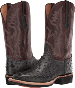 Lucchese Mens Cliff Full Quill Ostrich Square Toe Cowboy Boots Western