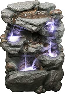 Virginia Rock Water Fountain - Stunning Garden Fountain with Cascading Pools and LED Lights. Soothing Sounds and Low Splash Design. Pump Included.