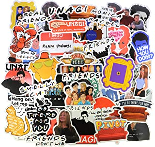 A Sticker Shop [54pcs) Friends TV Show Merchandise Fans Stickers for Laptop Water Bottle Luggage Snowboard Bicycle Skateboard Decal for Kids Teens Adult Waterproof Aesthetic Stickers