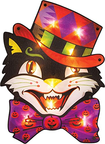 wholesale Twinkle Star 16 high quality x 12 Inch Halloween Decorations Lighted Vintage Cat Window Silhouette Decoration, 10 LED High-Voltage Light Up Decor, Holiday Party Home Yard lowest Art, Indoor Outdoor Ornament outlet online sale