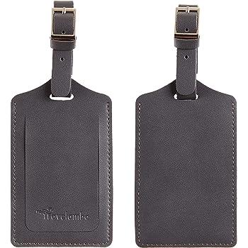 Travelambo Leather Luggage Bag Tags (Deep Grey)