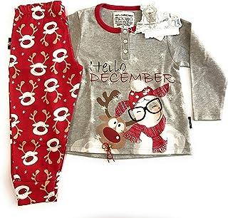 fadf6c2fddc1 Happy People Pigiama Bimba in Caldo Cotone Art.4452 100% Christmas con  Stampa Renna