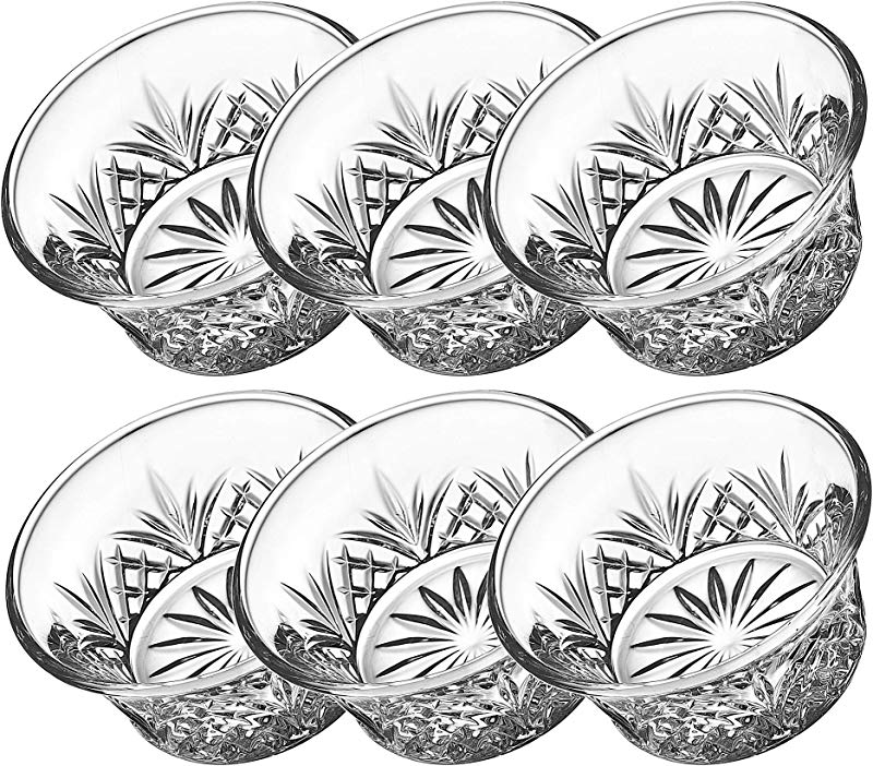 Godinger Bowl Set Crystal Mini Prep Dip Dessert Bar Snack Dish Bowls 2oz Set Of 6