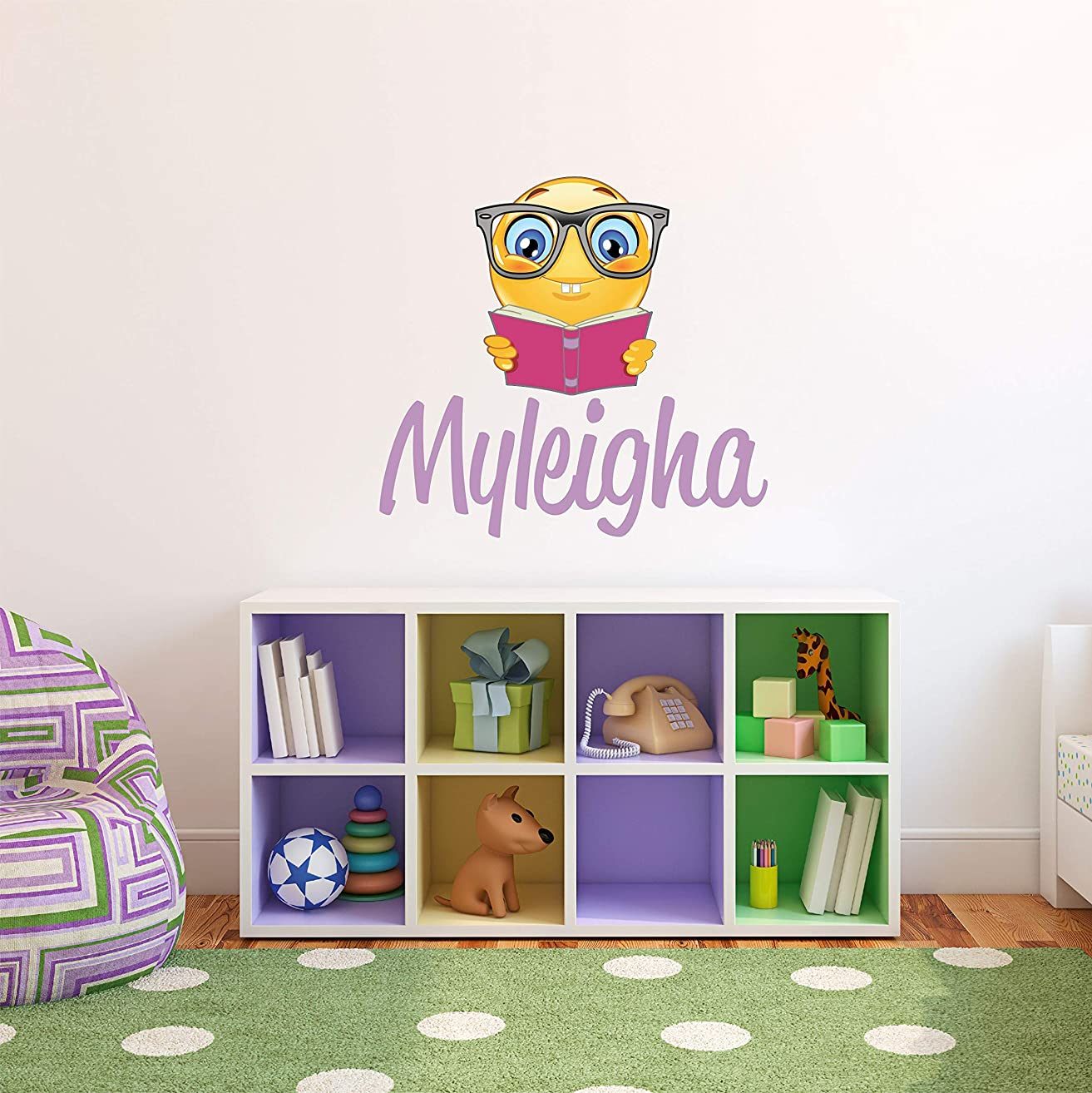 Custom Name With Bookworm Emoji Wall Decal - Boys Girls Personalized Name with Emoji Wall Sticker - Custom Name Sign - Custom Name Stencil Monogram - Boys Girls Room Wall Decor …