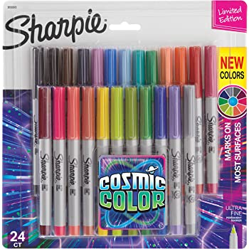 Sharpie Permanent Markers, Ultra Fine Point, Cosmic Color, Limited Edition, 24 Count
