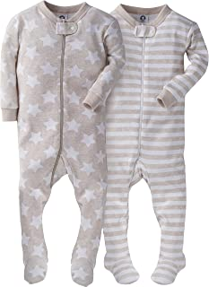 Baby Boys' Organic 2 Pack Cotton Footed Unionsuit