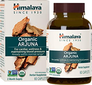 Himalaya Organic Arjuna 60 Caplets for Cholesterol, Blood Pressure & Healthy Heart Function Support 700mg