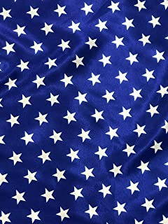 Patriotic White Stars ON Royal Blue Satin Fabric, Sells by The Yard, Sold by Sal Tex Fabrics, Inc.