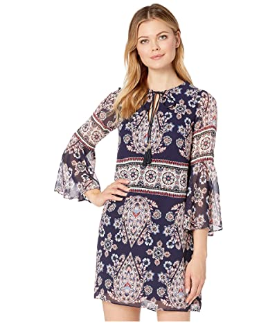 Vince Camuto Printed Chiffon Bell Sleeve Shift Dress with Tassels (Navy Multi) Women