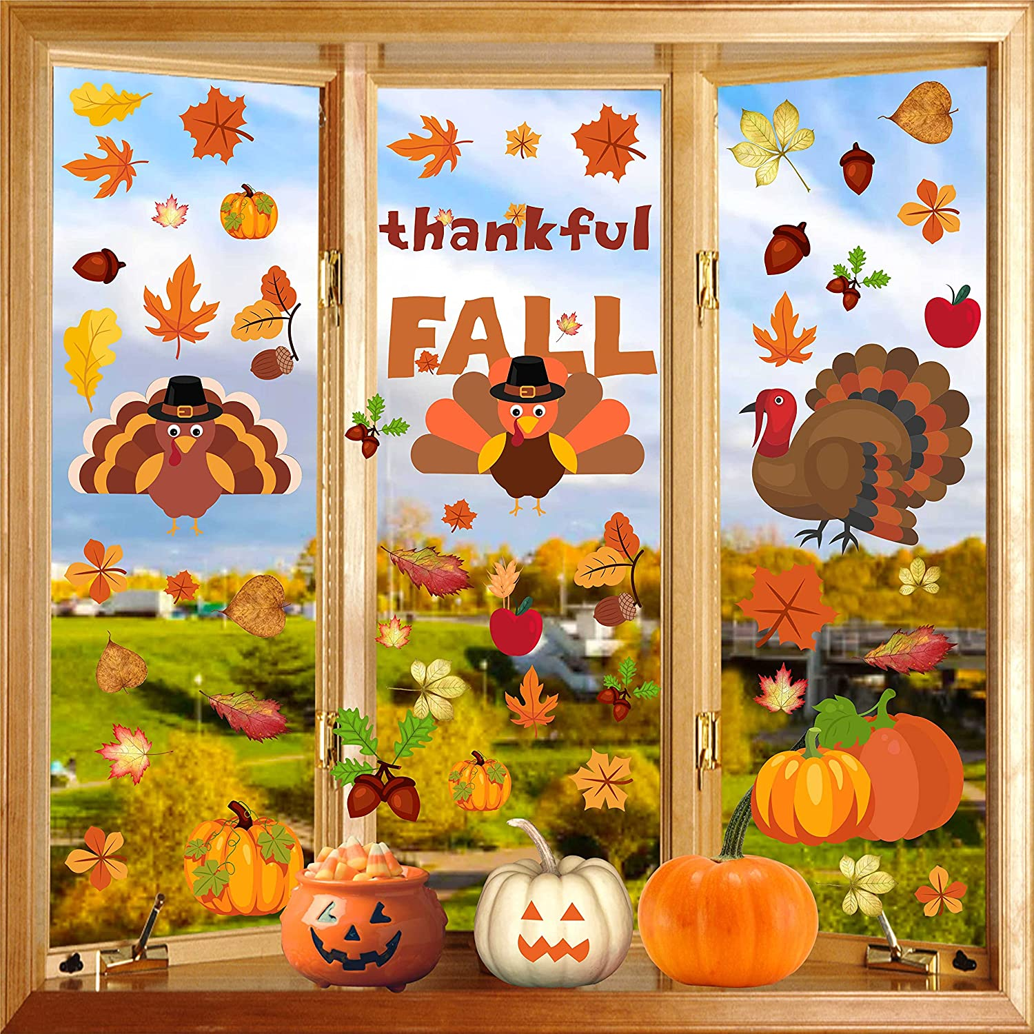 PARLAIM Large Size Los 2021 model Angeles Mall Thanksgiving Window Decor Decorations Clings