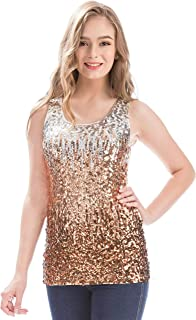 MANER Womens Sparkle Gradient Sequin Embellished Tank Top Sleeveless Round  Neck f5ee32f5f