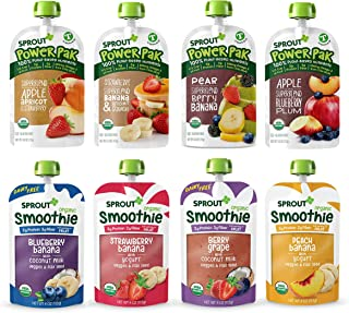 Sprout Organic Baby Food, Stage 4 Toddler Pouches, 8 Flavor Power Pak and Smoothie Sampler, 4 Oz Purees (Pack of 12)