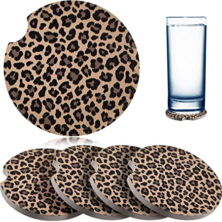 Sanpanie 2.75 inches Leopard Car Coasters for Drinks Neoprene Cup Coaster Rubber Car Cup Pad Mat Car Accessories fit for Car Truck SUV Living Room Kitchen Office 2PCS