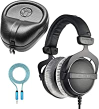 Beyerdynamic DT 770 PRO 80 Ohm Closed Back Headphones for Smartphones, Laptops, Computers Bundle with Full-Sized HardBody Pro Headphone Case, and Blucoil 6-FT Headphone Extension Cable (3.5mm)