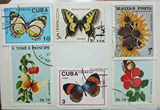 6 x Butterfly postage stamps - from around the world, used, off paper, all different - Butterflies - for collage, stamp collecting, mail art