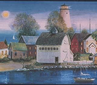 Village on the Lake at Night Lighthouse Dark Blue Wallpaper Border Retro Design, Roll 15' x 10''
