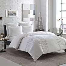 City Scene Variegated Pleats Comforter Set, Twin, White