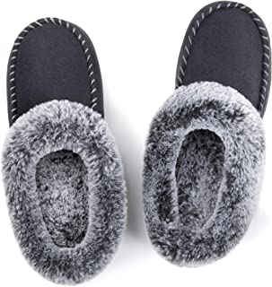 Women's Cozy Memory Foam Moccasin Suede Slippers with Fuzzy Plush Faux Fur Lining, Ladies' Slip on House Shoes with Indoor Outdoor Anti-Skid Rubber Sole