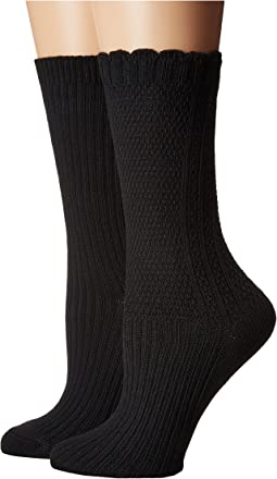Steve Madden - 2-Pack Boot Sock Text/Rib
