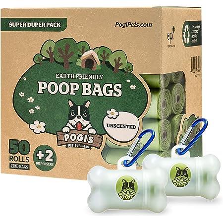 Pogi's Poop Bags - Bolsas para excremento de perro + 2 dispensador - 50 rollos no perfumados (750 Bolsas) - Grandes, Biodegradables, Herméticas