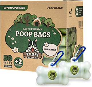 Pogi's Poop Bags - 50 Unscented Rolls (750 Bags) +2 Dispensers - Biodegradable, Leak-Proof Dog Waste Bags