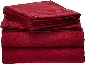 Pointehaven Heavy Weight Solid Flannel Sheet Set, Twin X-Large, Merlot