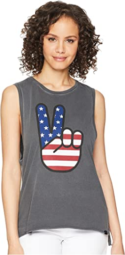 Merica Washed Biker Tank Top