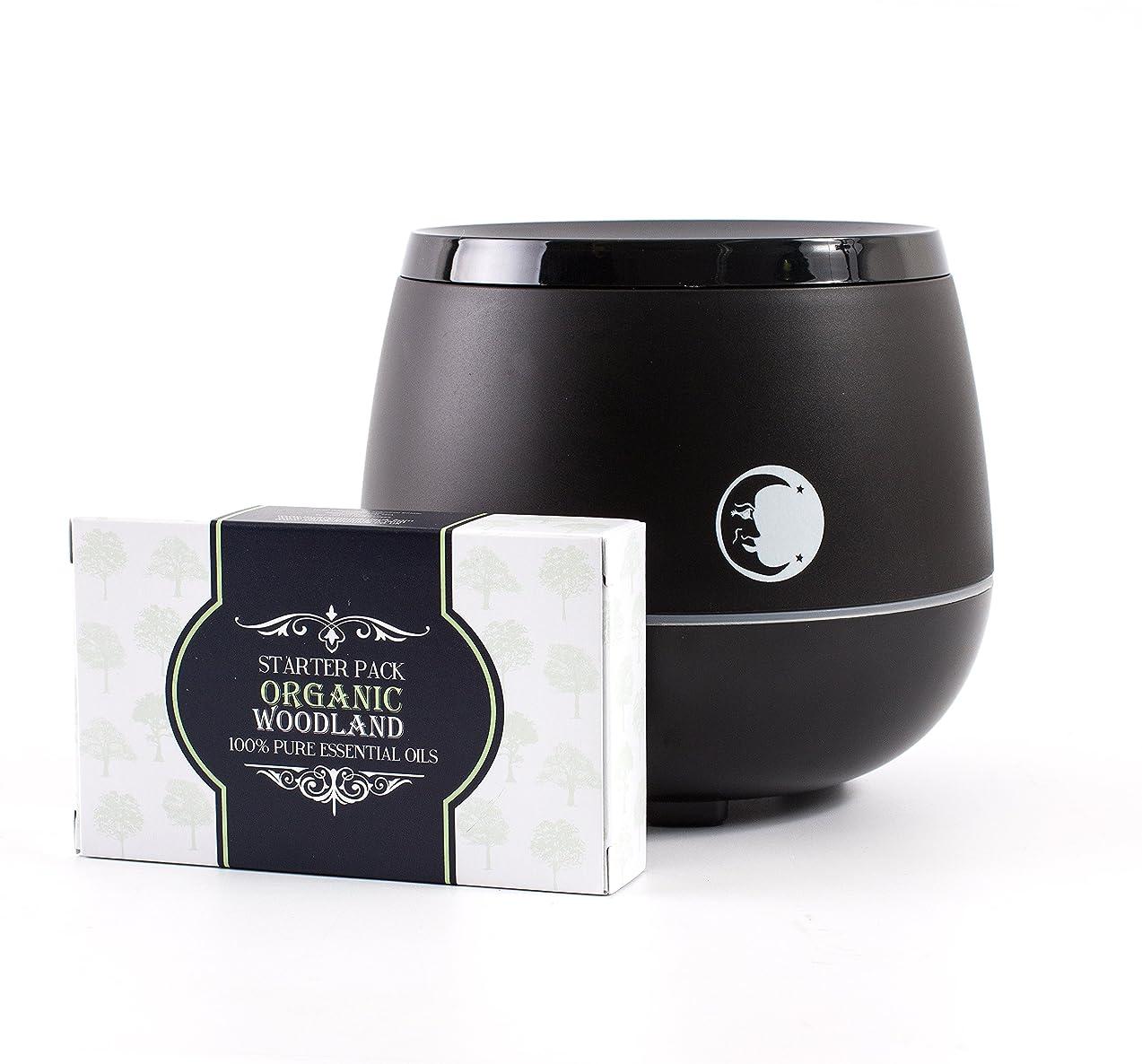あなたはいたずら浅いMystic Moments   Black Aromatherapy Oil Ultrasonic Diffuser With Bluetooth Speaker & LED Lights + Organic Woodland Essential Oil Gift Starter Pack