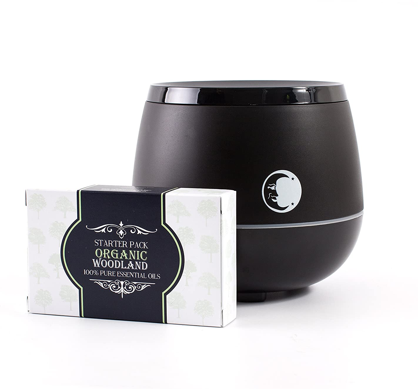 受粉者準備した首Mystic Moments | Black Aromatherapy Oil Ultrasonic Diffuser With Bluetooth Speaker & LED Lights + Organic Woodland Essential Oil Gift Starter Pack
