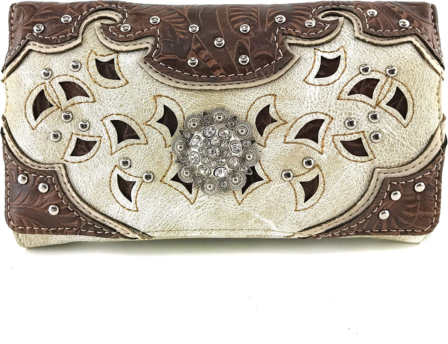 Justin West Max 58% OFF Tooled Leather Laser Outlet sale feature Studded S Cut Concho Rhinestone