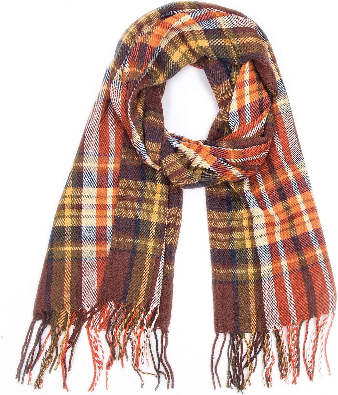 Wander Agio Womens Warm Scarfs Shawls Long Scarves Stripe Plaid Rough Surface Scarf