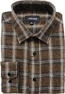 Tom Hagan Mens Work Shirt Checked Pattern Long Sleeves Casual Front Pockets