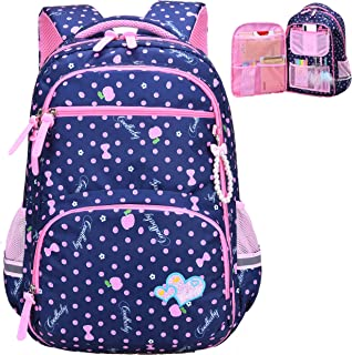 Water Resistant Girls Backpack for Primary Elementary School Large Kids Bookbag Laptop Bag (Small, Style 1- Blue)