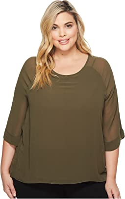B Collection by Bobeau - Plus Size Birdie Mix Media Blouse