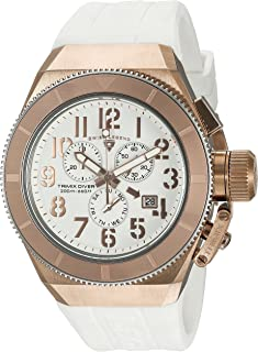 Swiss Legend Men's Trimix Diver Stainless Steel Swiss-Quartz Watch with Silicone Strap, White, 28 (Model: 13844-RG-02-RA)