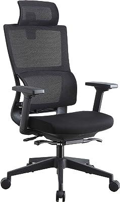 Lorell High Back Mesh w/Headrest Chair, Black