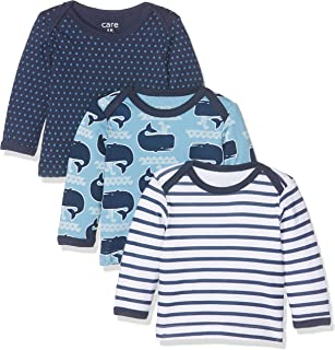Care 550141 Camisa Manga Larga, Multicolor (Deep Skye Blue), 0-3 Meses/56 cm, Pack de 3