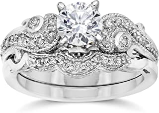 Emery 3/4Ct Vintage Diamond Engagement Wedding Ring Set 14K White Gold