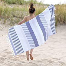 "Superior Meera Stripe Fouta Beach Towel, Oversized 35"" x 68"", Black"
