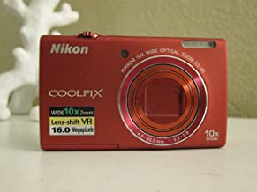 Nikon COOLPIX S6200 16 MP Digital Camera with 10x Optical Zoom NIKKOR ED Glass Lens and HD 720p Video (Red)