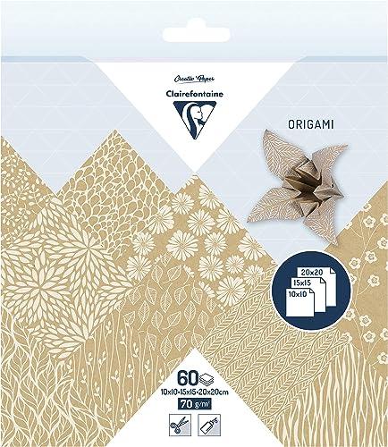 Clairefontaine 95355C - Une pochette origami 60 feuilles 70g (3 formats de papier : 10x10 cm, 15x15 cm, 20x20 cm, mot...