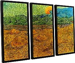 ArtWall 3 Piece Vincent Vangogh's Evening Landscape with Rising Moon Floater Framed Canvas Artwork, 36