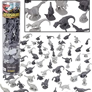 Dinosaur Action Figure Playset - 64 pc Toy Collection with 12 Unique Sculpts - Mini Dino Figurines for Party Favors, Dioramas, Decorations - Highly Realistic