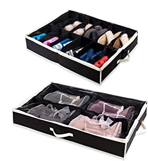 Woffit Under The Bed Shoe Organizer Fits 16 Pairs + 4 Pairs Boots – Sturdy & Breathable Materials – Underbed Storage Solution for Kids Men & Women Shoes – Great Space Saver for Your Closet!