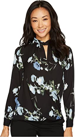 Vince Camuto Specialty Size - Petite Long Sleeve Windswept Bouquet Blouse