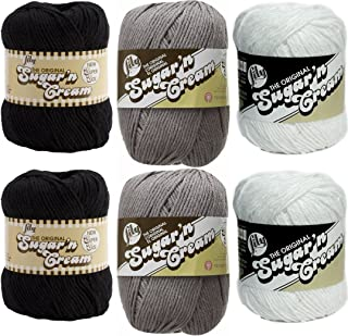 Lily Sugar n' Cream Variety Assortment 6 Pack Bundle 100 Percent Cotton Medium 4 Worsted (Multicolor)