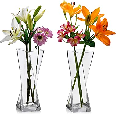 Set of 2 Glass Square Twisted Vases 12 Inch Tall X 4.75 Inch Square - Multi-use: Pillar Candle, Floating Candles Holders or F
