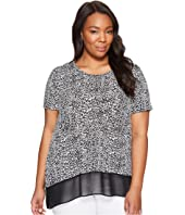 Karen Kane Plus - Plus Size Asymmetric Sheer Hem Top