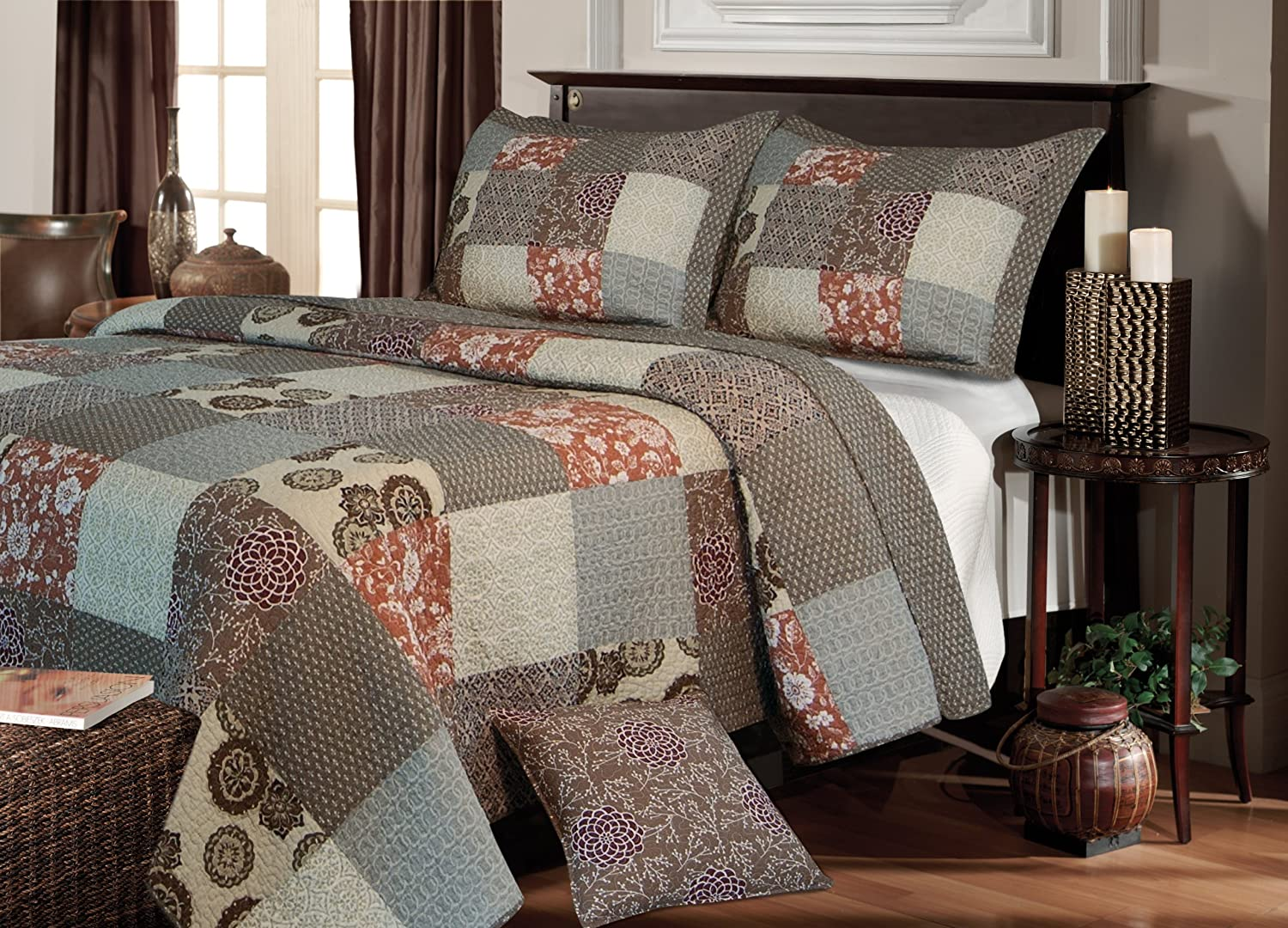 Greenland Home Fashions Stella Quilt Set, Full Queen